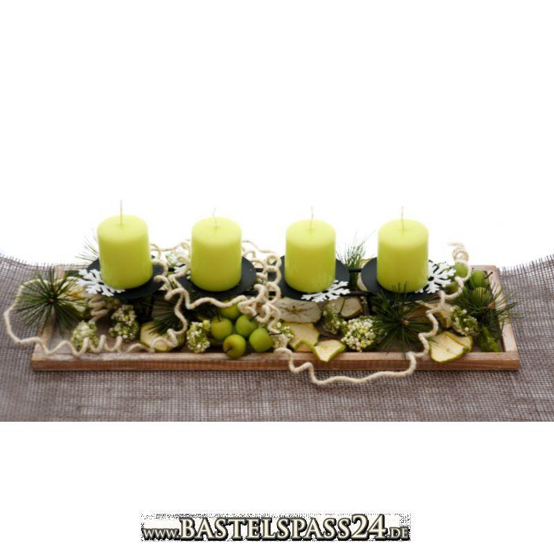 adventsgesteck adventsschale mit vier kerzen auf. Black Bedroom Furniture Sets. Home Design Ideas