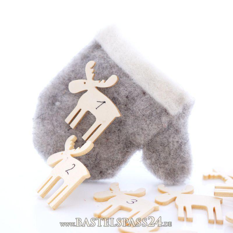 adventskalender selber machen mit filz und beschriftbare elche aus holz f r zahlen b. Black Bedroom Furniture Sets. Home Design Ideas