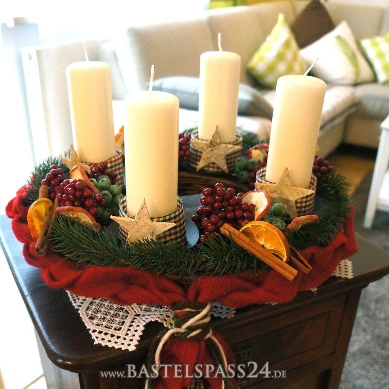 adventskranz aus weide mit kerzenhalter zum basteln und dekorieren f r eine nat. Black Bedroom Furniture Sets. Home Design Ideas