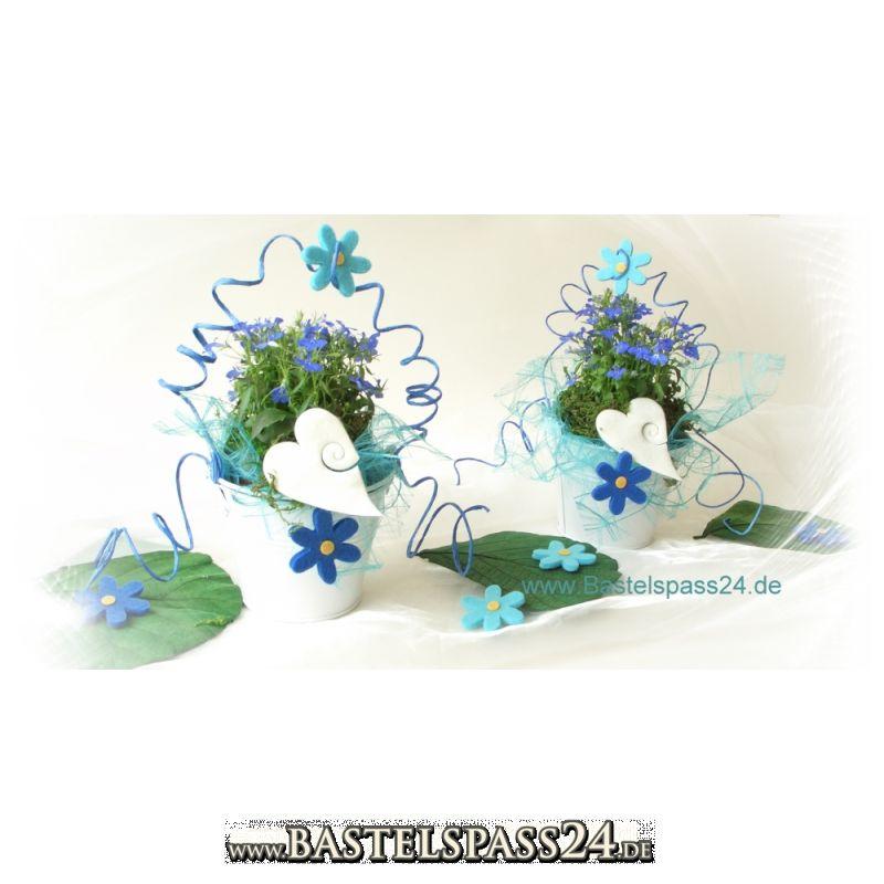 bl hende tischdekoration in blau t rkis wei zum einpflanzen und dekorie. Black Bedroom Furniture Sets. Home Design Ideas