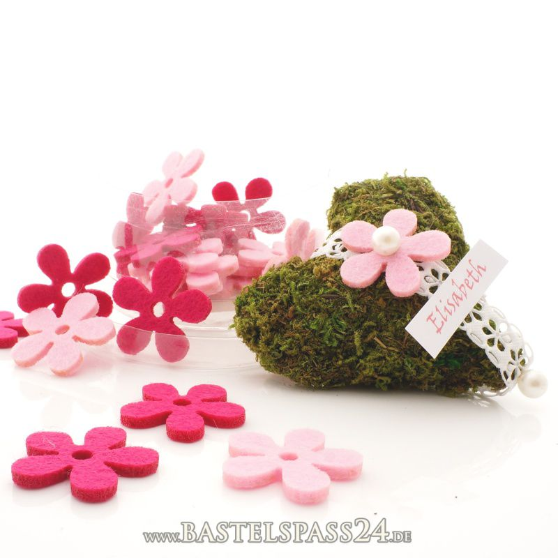 filzblumen streublumen blumen aus filz f r tischdeko rosa pink ve 24 st ck in. Black Bedroom Furniture Sets. Home Design Ideas