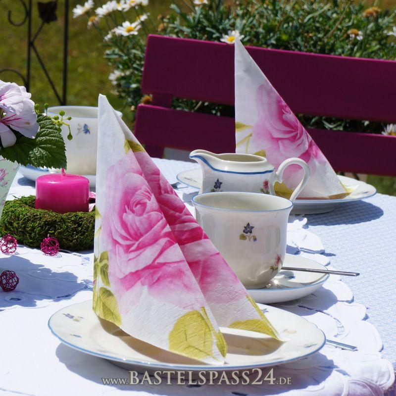 servietten mit rosenmotiv rosa wei gr n ve 10 st ck zum. Black Bedroom Furniture Sets. Home Design Ideas