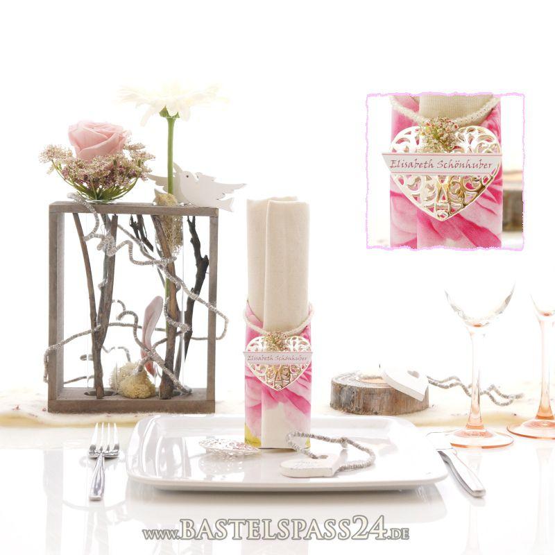 Tischdeko Hochzeit selber machen mit Glas rosa, weiß, natur im ...