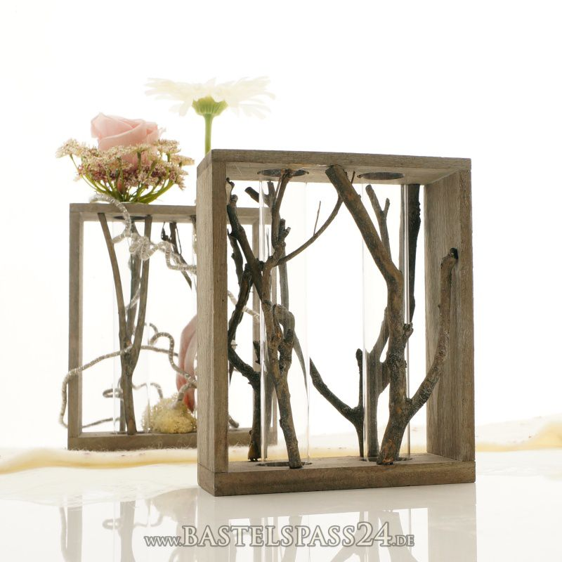tischdeko reagenzglashalter aus holz 2 gl ser d 2 8cm grau gewaschen gr 16x7x20cm. Black Bedroom Furniture Sets. Home Design Ideas