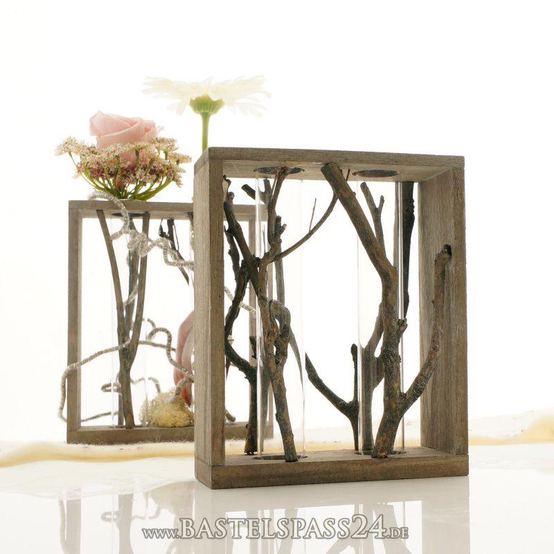 tischdeko reagenzglashalter aus holz 2 gl ser d 2 8cm. Black Bedroom Furniture Sets. Home Design Ideas