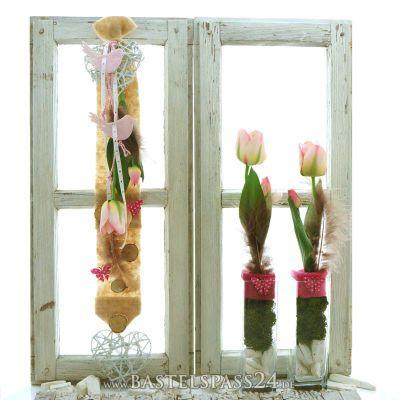 fensterdeko f r den fr hling selber machen trendig in rosa natur braun landha. Black Bedroom Furniture Sets. Home Design Ideas