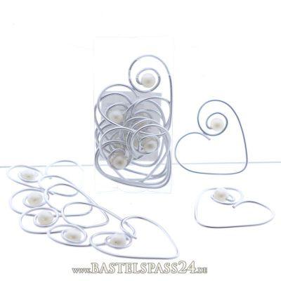 Serviettenringe herzen aus alu draht mit perle gr 5 cm for Silberdraht kaufen