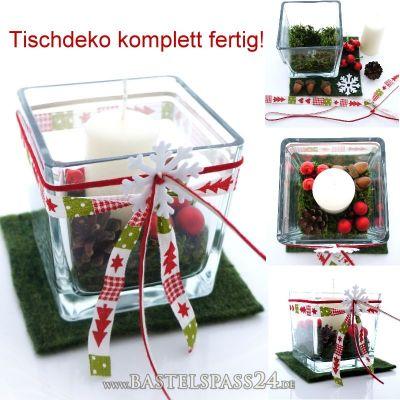 tischdeko weihnachten komplett fertig in rot wei gr n glasw rfel mit ker. Black Bedroom Furniture Sets. Home Design Ideas