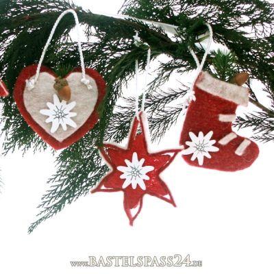 weihnachtsdeko aus filz selber machen alpenlook f r den tannenbaum ganz trendig. Black Bedroom Furniture Sets. Home Design Ideas