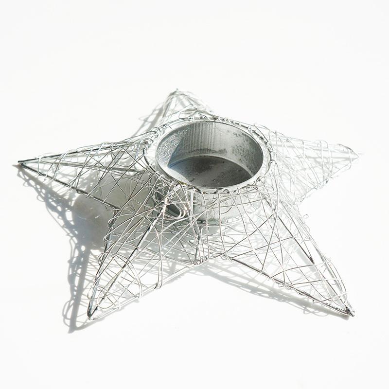 kerzenhalter f r teelichter in sternform aus glanzdraht ideal f. Black Bedroom Furniture Sets. Home Design Ideas
