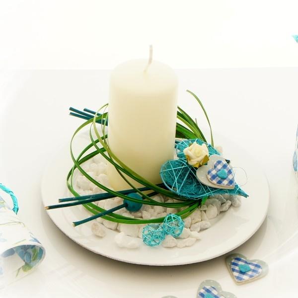 sisalherzen im landhausstil blau wei als tischaufleger bastel. Black Bedroom Furniture Sets. Home Design Ideas