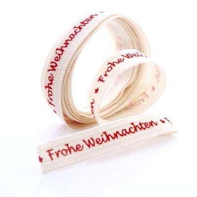 Frohe Weihnachten Band.Band Frohe Weihnachten Bedruckt Aus Baumwolle In Leinenoptik B 15 Mm L 2 M Rot Creme Weiß Ve 1 Stück