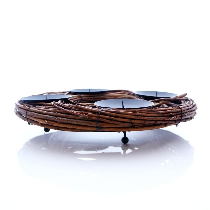 adventskranz aus weide mit kerzenhalter zum basteln und dekorieren f u. Black Bedroom Furniture Sets. Home Design Ideas