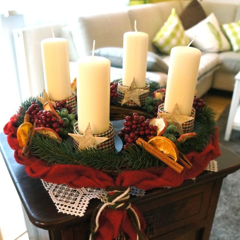 Adventskranz aus weide mit kerzenhalter zum basteln und for Dekoration advent