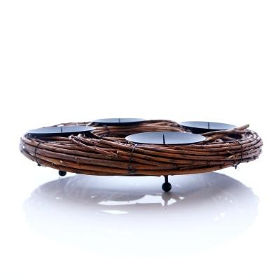 adventskranz aus weide mit kerzenhalter zum basteln und. Black Bedroom Furniture Sets. Home Design Ideas