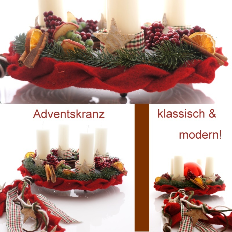 diy adventskranz rustikal rot wei im landhaustil floristik basteln. Black Bedroom Furniture Sets. Home Design Ideas