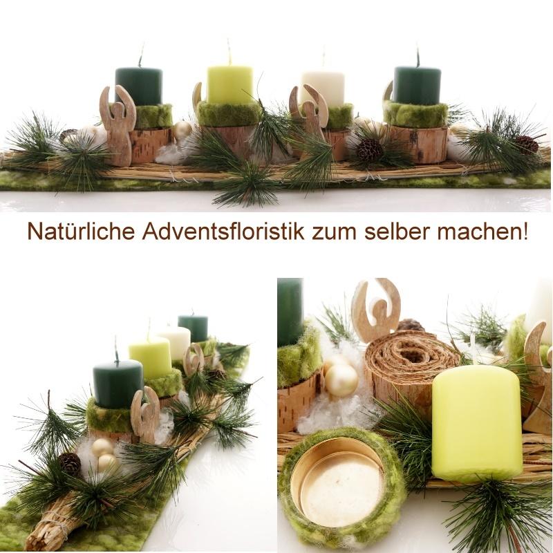 Adventsgesteck mit trendiger deko aus wolle rebe und for Gestecke basteln weihnachten