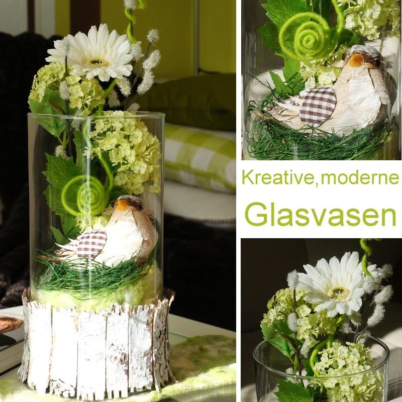 Fruhlingsdeko Mit Grossen Glasvasen Ganz Naturlich In G