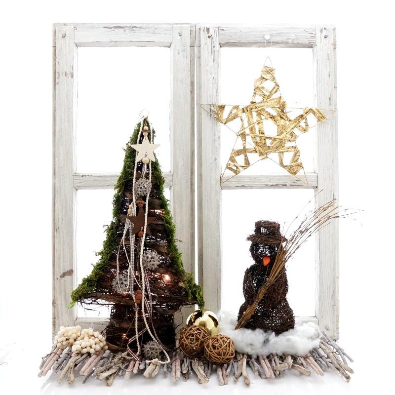fensterdeko weihnachten tannenbaum und schneemann aus rebe. Black Bedroom Furniture Sets. Home Design Ideas