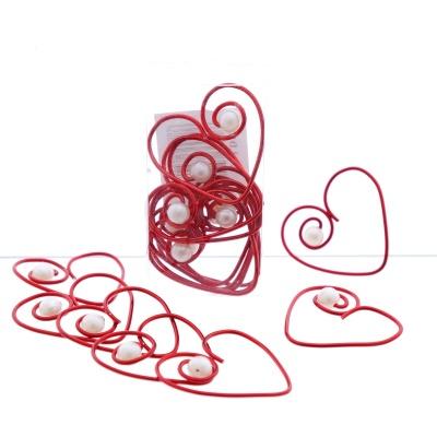 Serviettenringe, Herzen aus Alu Draht mit Perle Gr. 5 cm, VE 16 Stk, f