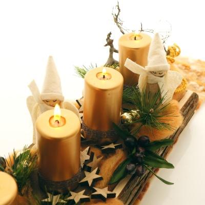 Tischdeko holz rinde  Kerzenständer Advent aus Holzrinde, Kerzenhalter,Gr. 45x15x7 cm,