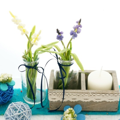 Tischdeko Blau Weiss Fur Fruhjahr Und Sommer Mit Glasva