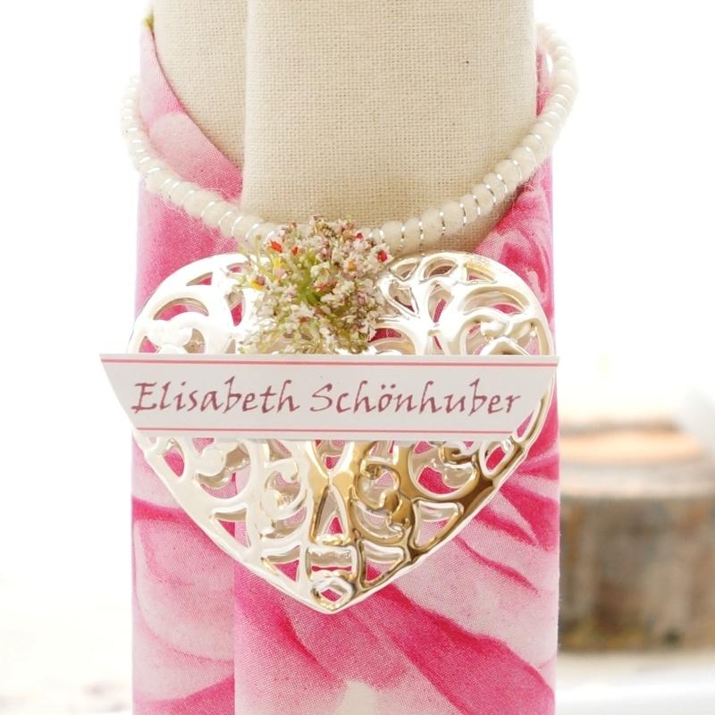Tischdeko hochzeit selber machen mit glas rosa wei Rosa tischdeko hochzeit