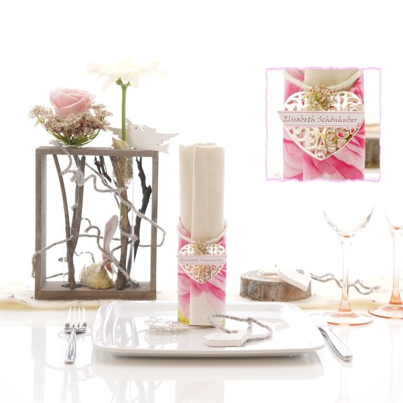 Tischdeko Mit Holz Selber Machen ~ Tischdeko Hochzeit selber machen mit Glas rosa, weiß, natur im