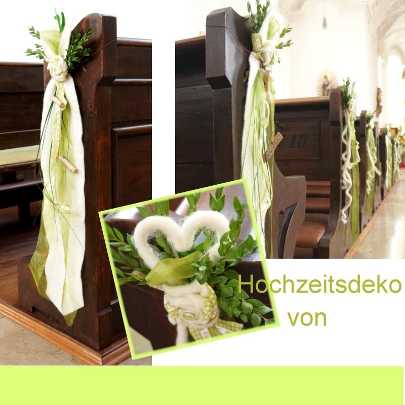 kirchenbankschmuck f r hochzeit mit herzen aus wollkordeln von le. Black Bedroom Furniture Sets. Home Design Ideas
