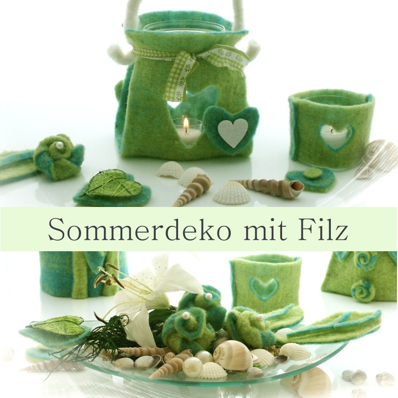 sommerdeko mit filz glasschale mit filzrosen muscheln und lilien h. Black Bedroom Furniture Sets. Home Design Ideas
