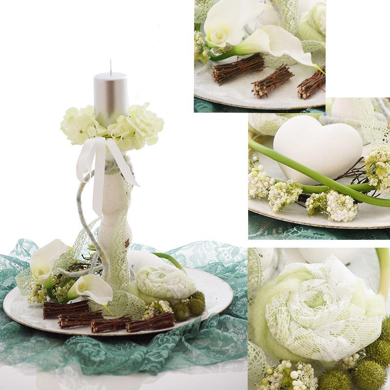 Tischdeko kerzenring aus hortensien - Kerzenstander dekorieren ...