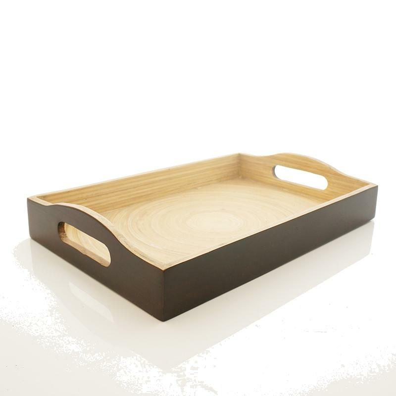 tablett kleines lacktablett aus bambus rechteckig 35x25x4 bastelsp. Black Bedroom Furniture Sets. Home Design Ideas