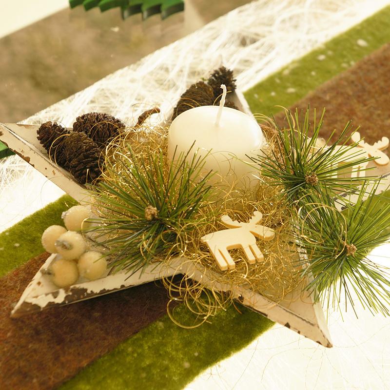 adventsgesteck im landhausstil mit sternschale holz im chabby chic b. Black Bedroom Furniture Sets. Home Design Ideas