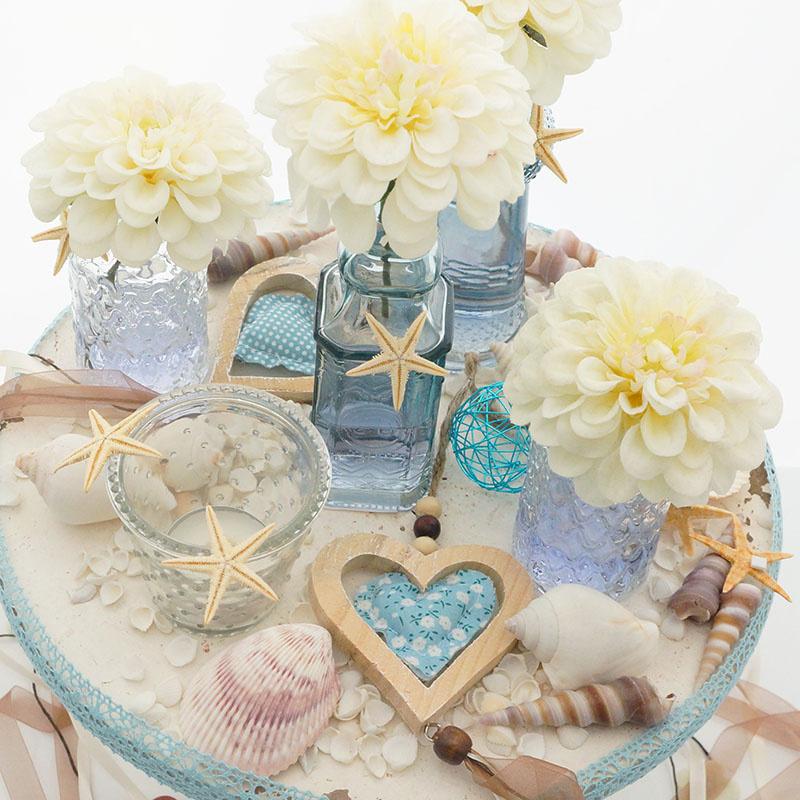 Tischdeko hochzeit sommer runde tische floristik basteln - Sommer tischdeko ...
