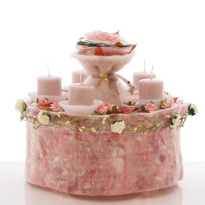 Deko Torte Für Hochzeit Und Feste In Rosa Weiß Im Vintage.