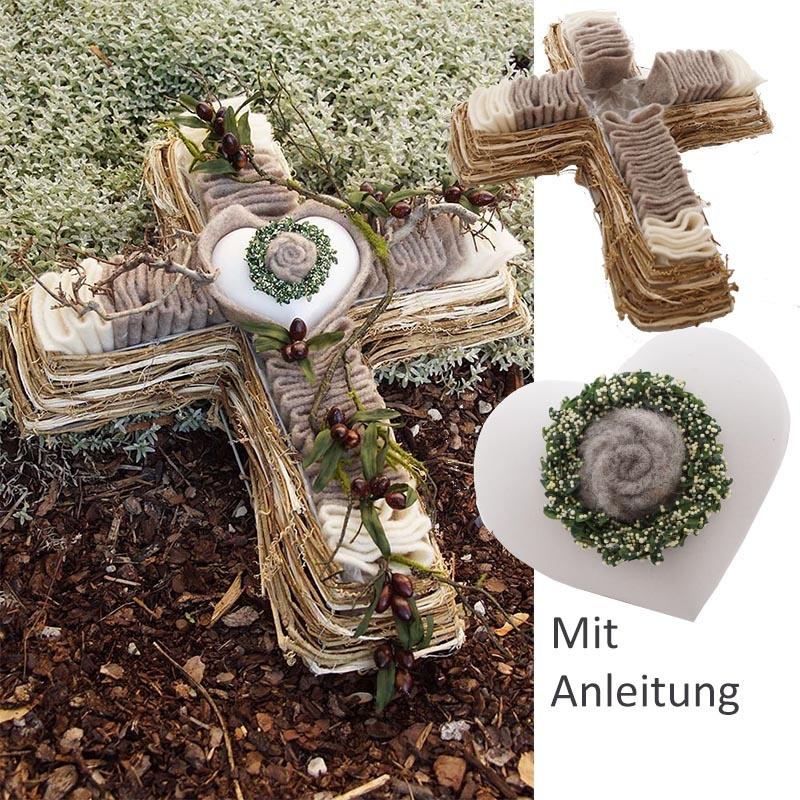 pflanzkreuz f r grab diy grabgesteck rebenkreuz mit wollband le. Black Bedroom Furniture Sets. Home Design Ideas