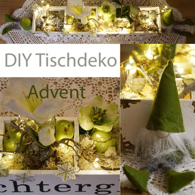 Adventskiste | shabby chic | weiß 50x11x8 Adventsschale