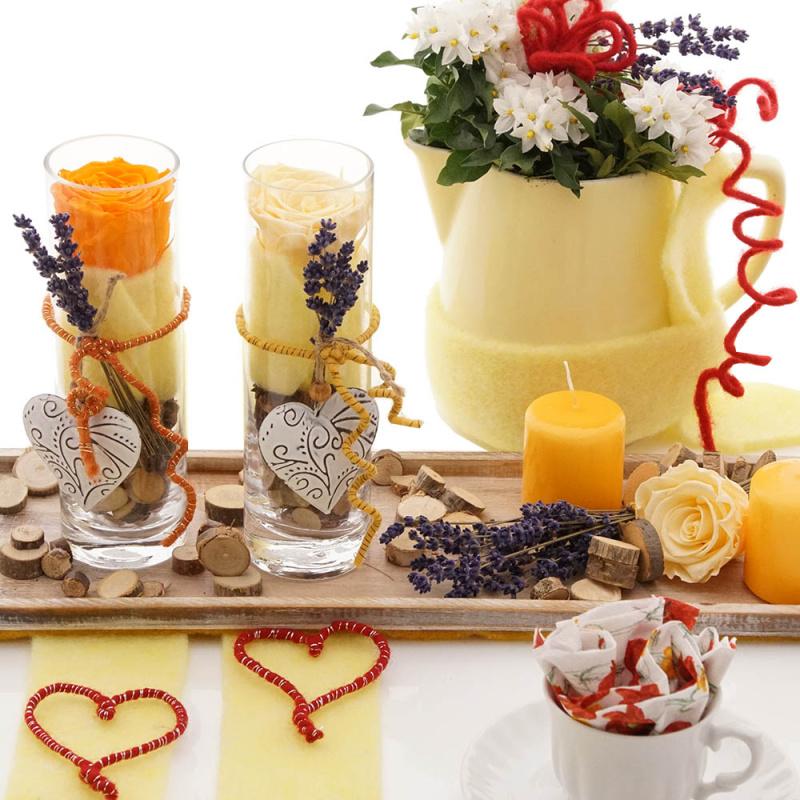 Diy Tischdeko Fruhling Muttertag Geburtstag Bunt Mit Rosen Und Glas