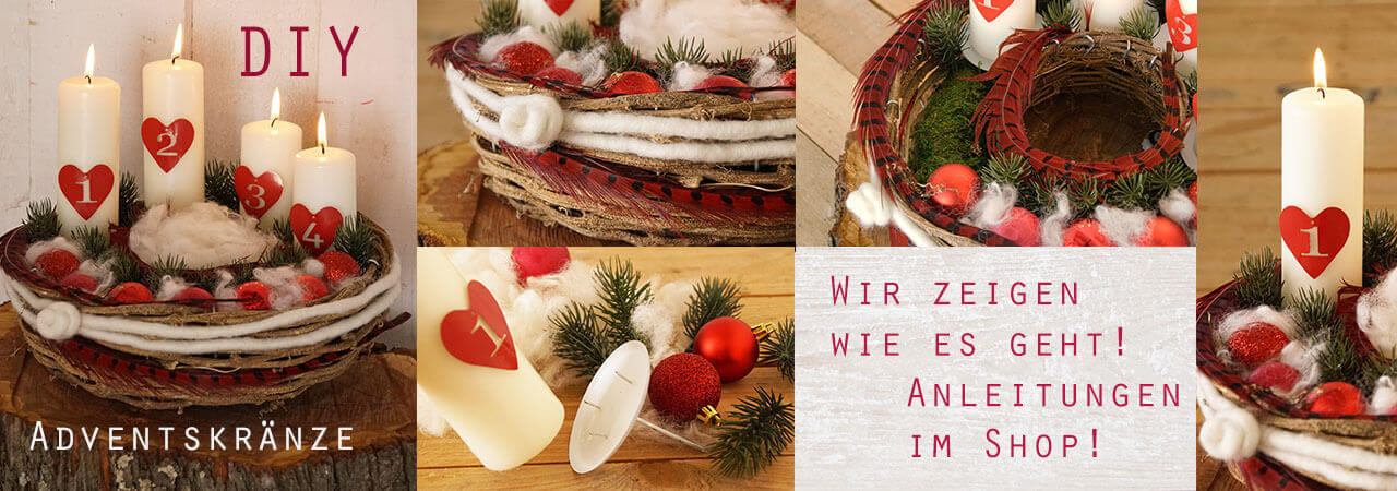 DIY Adventskränze rustikal natur rot weiß sel