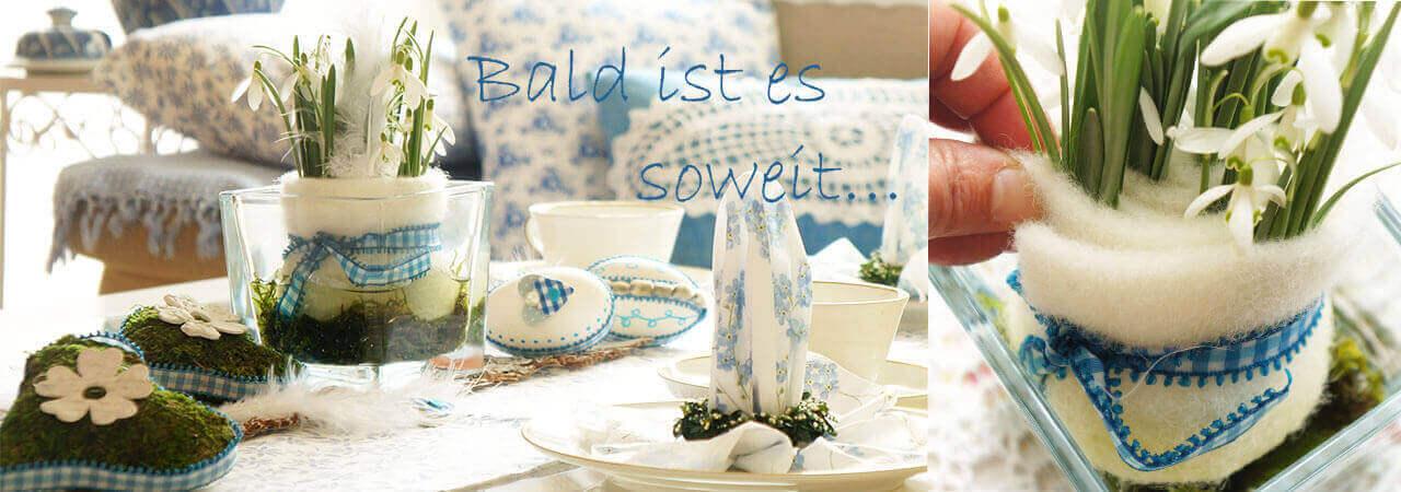 Tischdeko Frühjahr Ostern mit Glas und Wollba