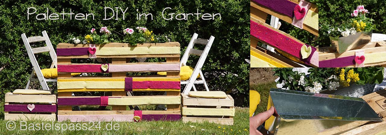 Paletten DIY im Garten, Gartendeko & Zink