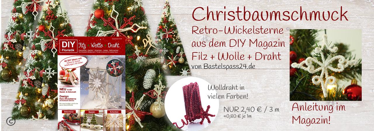 Christbaumschmuck mit Retro Wickelsterne aus