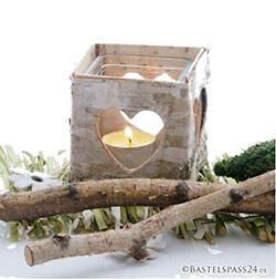 Tischdeko mit Holz