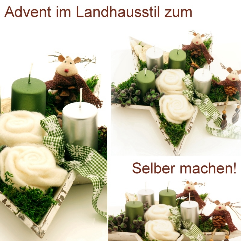 Bastelspass24 floristik deko im bastel online shop for Advent tischdeko