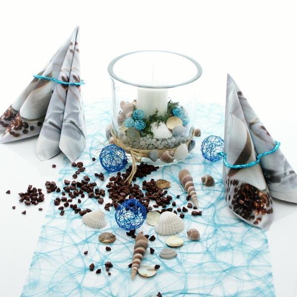 Tischdeko Sommer selber machen blau weiß maritim